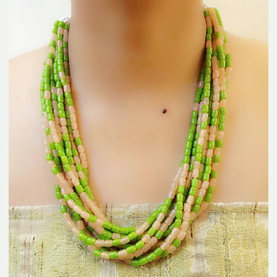 The Bead Story - Light Green Multi layer Necklace