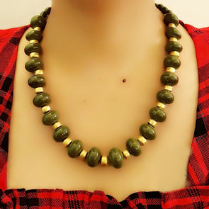 Olive Green Glass beads Necklace