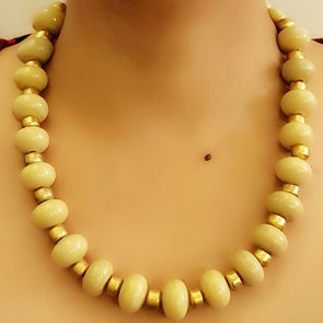 The Bead Story - Ivory Glass Beads Necklace