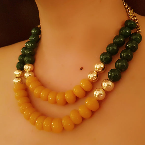 The Bead Story - Green and Yellow Two Layer Necklace