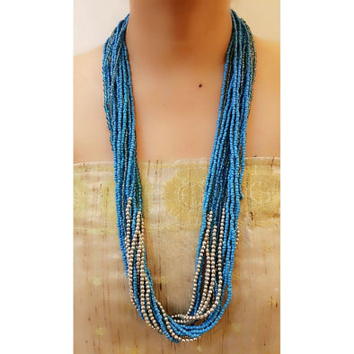 Blue Glass Beads Necklace 8