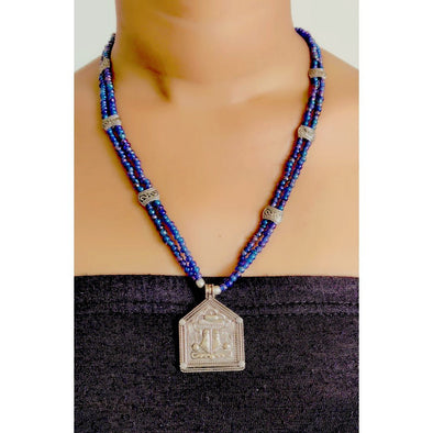 Blue Glass Beads Necklace 6