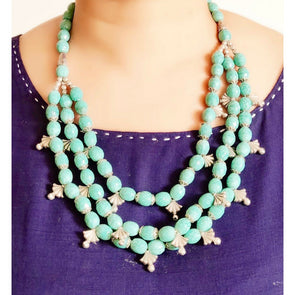 Blue Glass Beads Necklace 7