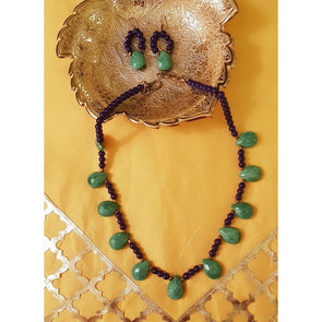 Tear Drop Green Glass Beads Necklace