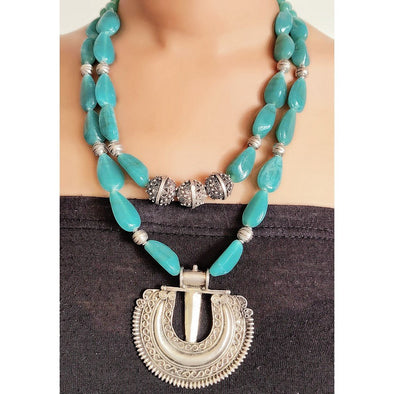 Blue Glass Beads Necklace 3
