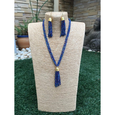 Blue Glass Beads Long Necklace