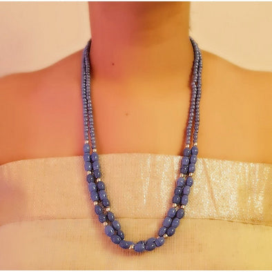 Blue Glass Beads Necklace 4