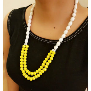 White And Yellow Glass Beads Necklace
