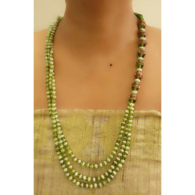 Green Glass Beads Necklace 8