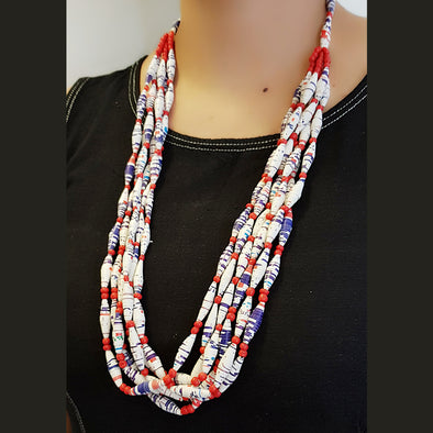 Paper Bead Necklace 12