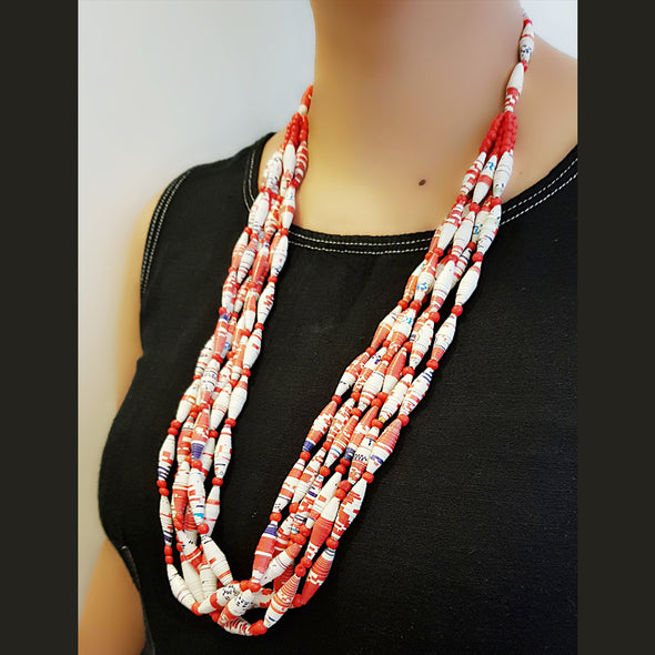 Paper Bead Necklace 14