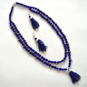 The Bead Story - Blue Glass Bead Long Necklace