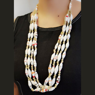 Paper Bead Necklace 22