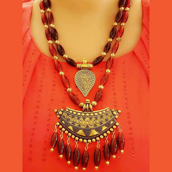 The Bead Story - Red Glass Beads Two Layer Long Necklace