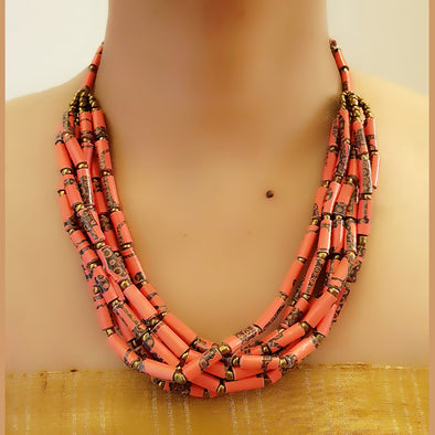 Paper Bead Necklace 55