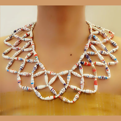 Paper Bead Necklace 56