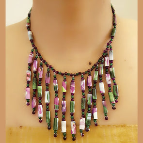 Paper Bead Necklace 57