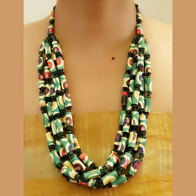 Paper Bead Necklace 58