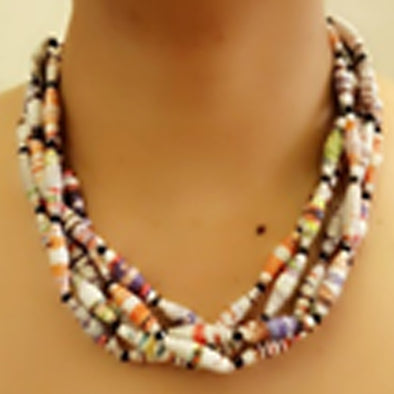 Paper Bead Necklace 65
