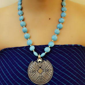 Blue Glass Bead Necklace with Pendant