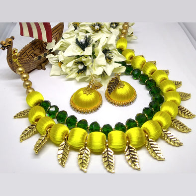 Yellow Leaf Charm Finished Silk Thread Choker Set