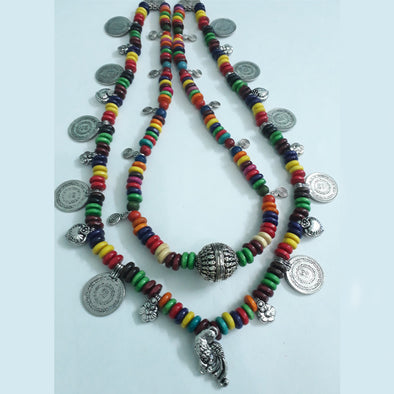 Multi Colour Wood Beads Necklace