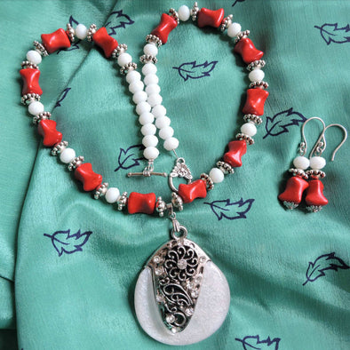 Lovely Red and White Necklace