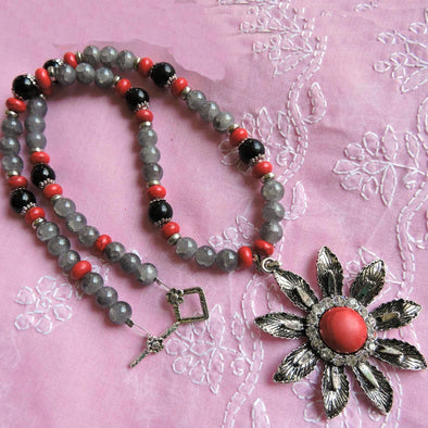 Red Flower Necklace with Gray Beads