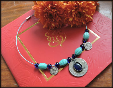 Afghan Coin Necklace - Mixed Blue