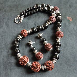 Black and Rudraksh Necklace