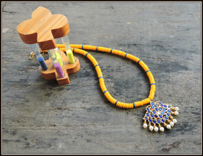 Aadrika Kemp Series - Yellow with Blue Bead Necklace