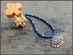 Aadrika Kemp Series - Blue & Gold Bead Necklace