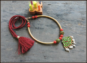 Aadrika Kemp Series - Red Bead Green Kemp Necklace