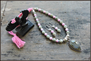 Gray and Pink Bead Necklace