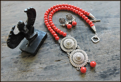 Red Bead Double Pendant Necklace