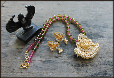 Green Pink Bead Devi Pendant Necklace 2