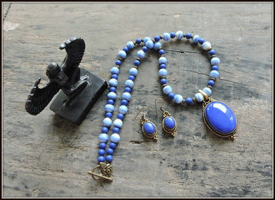 Mixed Blue Bead Necklace Set