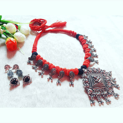 Red Thread Temple Pendant Statement Neckpiece