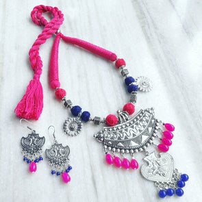 Pink Thread Statement Neckpiece
