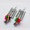 White Script Pompom Earrings