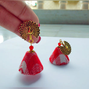 Red Check Jhumka