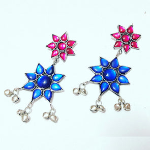 Blue and Pink Stone Afghani Earrings
