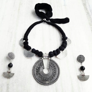 Black Thread Statement Neckpiece