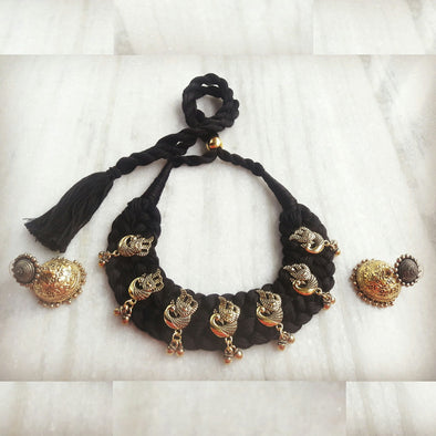 Black Thread with Golden Peacock Statement Neckpiece