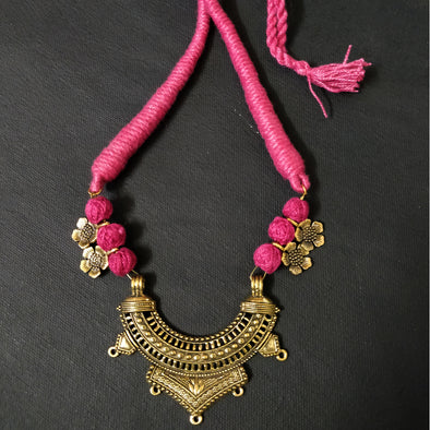 Pink Cotton Thread Neckpiece