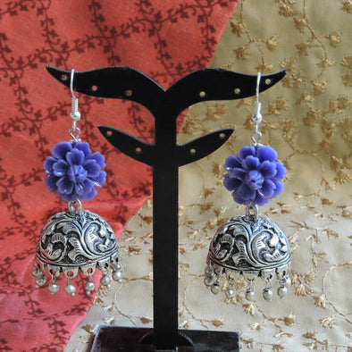 Purple Flower Jhumka
