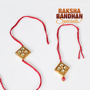 Rhinestone Studded Square Bhai Bhabhi Couple Rakhi Set