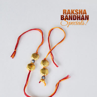 Brushed Bead and Evil Eye  Bhai Bhabhi Couple Rakhi Set