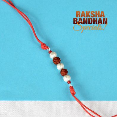 Silver Start Dust Ball and Rudraksha Rakhi