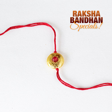 Jade Studded Brushed Bead Circular Rakhi
